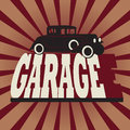 Vintage garage sign retro color illustration Royalty Free Stock Photos