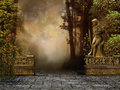 Vintage garden with a stone wall and a statue Stock Image