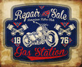 Vintage gasoline retro signs and labels gas station fashion style Stock Photos