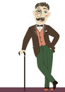 Vintage gentleman with cane vector man isolated on illustration of white Royalty Free Stock Photo