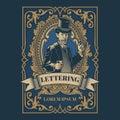 Vintage gentleman emblem, signage