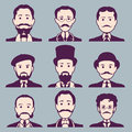 Vintage gentleman portrait set retro collection of diverse male faces design flat avatar for social media vector illustration Royalty Free Stock Image
