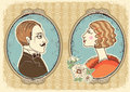 Vintage gentleman and woman face portraits in frames Royalty Free Stock Image
