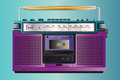 Vintage ghettoblaster cassette tape a vector illustration of a fantastic retro Stock Images