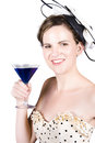 Vintage girl with a blue cocktail Royalty Free Stock Photo