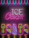 Vintage Glow Poster with Ice Cream Lolly and Inscription. Neon L Royalty Free Stock Photo