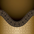 Vintage gold background frame with curve border ornament Stock Image
