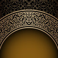 Vintage gold background ornamental frame over pattern Royalty Free Stock Image