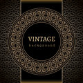 Vintage gold background with ornamental label Royalty Free Stock Images