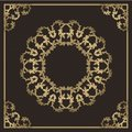 Vintage gold background, vector square ornamental frame with pla Royalty Free Stock Photo