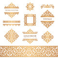 Vintage gold borders and frames on white