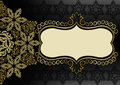 Vintage gold frame on a black background with pattern and flower Stock Images