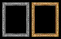 Vintage gold and gray frame isolated on black background, clipping path Royalty Free Stock Photo