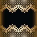 Vintage gold lace background seamless borders on black Royalty Free Stock Images