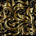 Vintage gold ornamental 3d seamless pattern. Vector floral patte Royalty Free Stock Photo