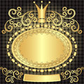 Vintage gold oval frame Stock Images