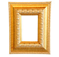 Vintage gold wooden photo frame clipping path Stock Image