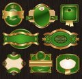 Vintage golden-green luxury ornate framed labels Royalty Free Stock Photos