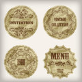 Vintage golden labels paper cut crumpled paper texture Royalty Free Stock Photography