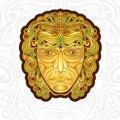 Vintage golden mask or face label or brand