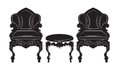 Vintage Gothic style armchair and table furniture