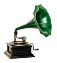 Vintage gramophone record player on white background Stock Photography