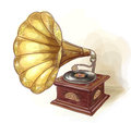 Vintage Gramophone. Wtercolor imitation. Stock Photos
