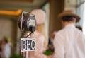 Vintage grampian retro bbc microphone at a retro event Royalty Free Stock Photo