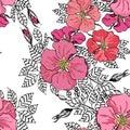 Vintage graphic flower seamless pattern texture