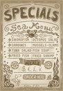 Vintage graphic page menu for bar or restaurant detailed illustration of a illustration in eps with color space in rgb Royalty Free Stock Images