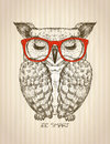 Vintage graphic poster with hipster owl dressed in red glasses
