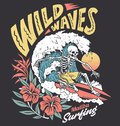 Vintage graphic of a surfing skeleton with hibiscus flowers Royalty Free Stock Photo