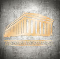 Vintage greece grunge background in grey and golden Stock Images