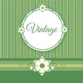 Vintage green background with flowers vector illustration Royalty Free Stock Photo