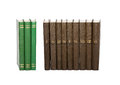 Vintage green brown books with serial numbers on covers white background soft focus and isolated Stock Images
