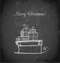 Vintage greeting card with Christmas sleigh Royalty Free Stock Photo