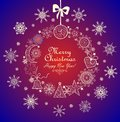Vintage greeting card with christmas wreath Royalty Free Stock Photo