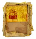 Vintage greeting card with gift boxes and beautiful golden bow Royalty Free Stock Images