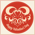 Vintage greeting card for valentines day holiday happy lettering decorative heart Stock Image
