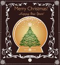Vintage greeting card with golden globe with Christmas tree and floral decorative border Royalty Free Stock Photo