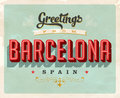 Vintage greetings from Barcelona, Spain vacation card