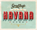 Vintage greetings from Havana, Cuba vacation card Royalty Free Stock Photo