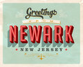 Vintage greetings from Newark vacation card Royalty Free Stock Photo