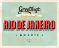 Vintage greetings from Rio de Janeiro vacation card Royalty Free Stock Photo