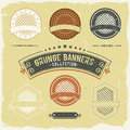 Vintage grunge banner and labels collection illustration of a set of design banners seal stamper ornaments patterns Stock Photography
