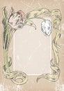 Vintage grunge card. flowers frame.post card. invitation Royalty Free Stock Photo