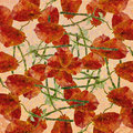 Vintage grunge floral pattern beautiful collage petals and stems motif in warm tones and square format Stock Photo