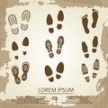 Vintage grunge footsteps poster design