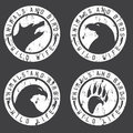 Vintage grunge labels with animals and birds negative space Royalty Free Stock Photo