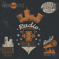 Vintage grunge labels of urban radio  microphone and headpho Royalty Free Stock Photo